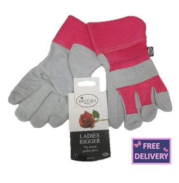 Ladies Rigger Gardening Gloves - Medium - Pink - Briers
