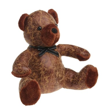 Bertie the Teddy Bear Doorstop - PU Leather and Cotton Door Stop