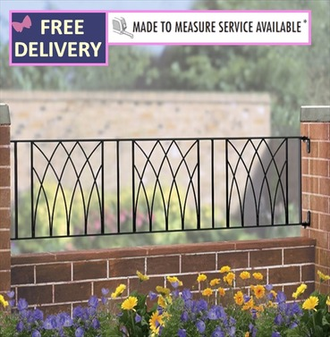 Abbey Metal Garden Railings 6ft Wide (1830mm)