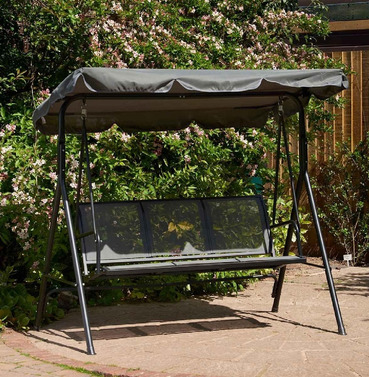 Grey Textaline 3 Seater Swing Seat with Canopy