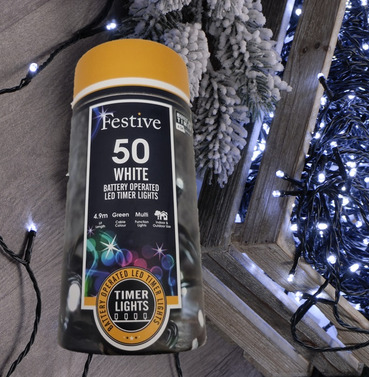 Festive 50 Battery Operated Christmas String Lights - Cool White