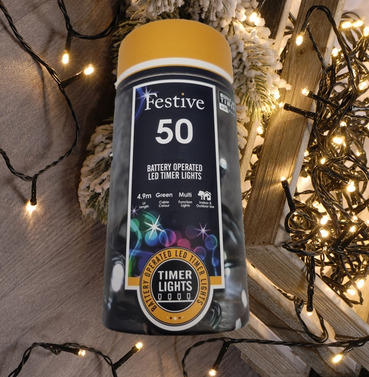 Festive 50 Battery Operated Christmas String Lights - Warm White