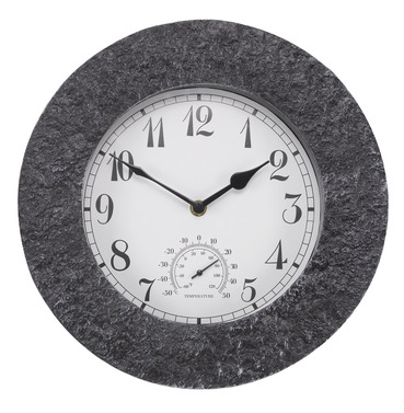 Stonegate Granite Wall Clock and Thermometer 12""