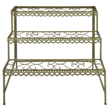 Etagere Garden Plant Stand in Green Aged Metal - Rectangular