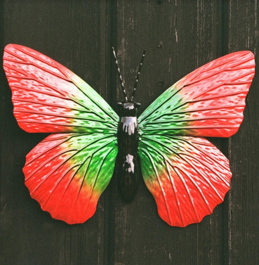 Metal Red and Green Butterfly Wall Art