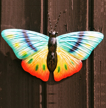 Metal Multi Coloured Butterfly Wall Art