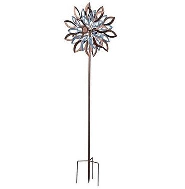 Large Brown & Silver Garden Wind Sculpture Spinner - Garden Art