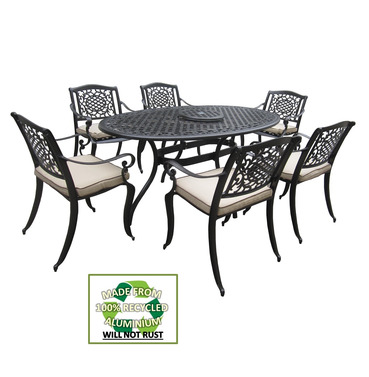 Ballygowan Mississippi 6 Seater Garden Oval Aluminium Set - Bronze