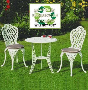 Ballygowan Mississippi Aluminium Garden Cream Bistro Set - With Seat Pads