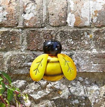Metal Bee Wall Art - Hand Painted - Medium