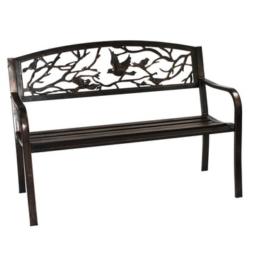 Garden Bird Back Metal Bench