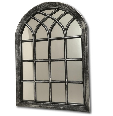 Black with Silver Wash Outdoor Garden Mirror