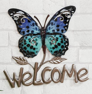 Blue Welcome Butterfly Metal Wall Art