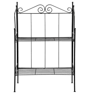 Folding 2 Shelve Scrolled Etagere Garden Plant Stand in Black