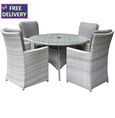 Burnham XL Round 4 Seater Rattan Weave Set - Textured Grey
