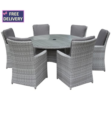 Burnham XL Round 6 Seater Rattan Weave Set - Textured Grey