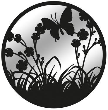 Butterfly Metal Wall Art Mirror - Black