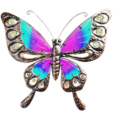 Butterfly Garden Wall Art - Metal and Glass