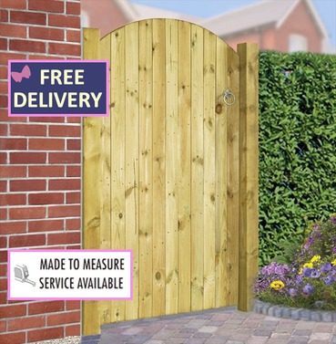 "Carlton Wooden Bow Top Single Garden Gate 35.5""  Wide"