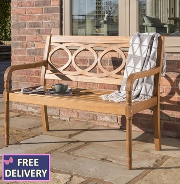 Christi 2 Seater Wooden Bench - Eucalyptus Wood