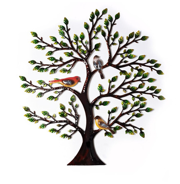 Colourful Hand Painted Metal Tree With Birds Wall Art