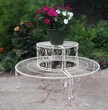 Two Tier Round Etagere Plant Stand - 360 Degree Circle - Antique Cream