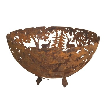 Fire Bowl Cast Iron - Last Cut Woodland Scene Design