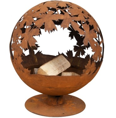 Fire Ball Globe Cast Iron - Laser Cut Leaves Design