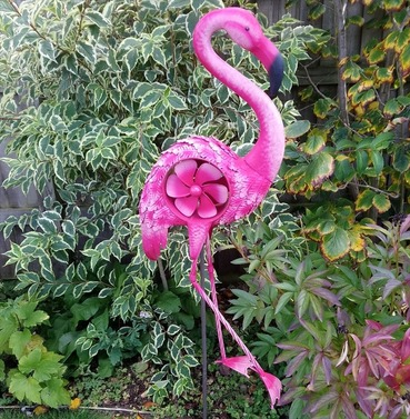 Large Metal Flamingo Windmill Ornament - Wind Spinner