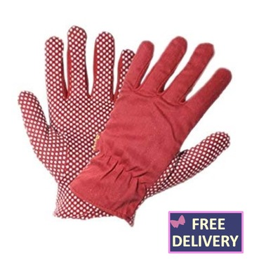 Flexigrip Gardening Gloves - Jersey Dot - Red - Medium or Small