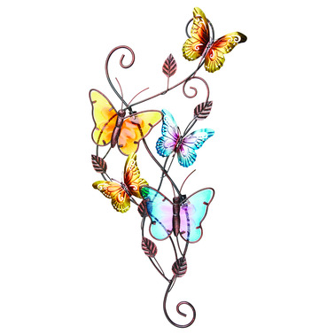Flying Butterflies Garden Wall Art - Metal and Glass