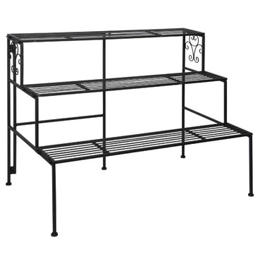 Folding Etagere Garden Plant Stand in Black