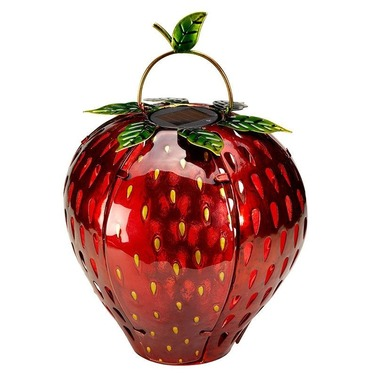 Funky Strawberry Solar Lantern Outdoor Glass Light