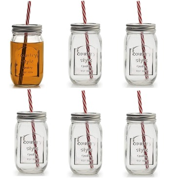 Country Style Clear Glass Jar With Straw - Kilner Style - Set of 6