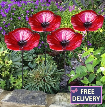 Large Glass Poppy Bird Feeder Water Dish - Set of 4 Poppies