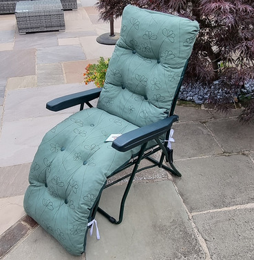 Reclining Multi Position Lounger Chairs - Green with Floral Pattern