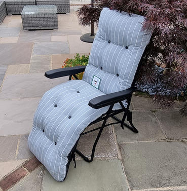 Reclining Multi Position Lounger Chairs - Grey with Pin Stripe