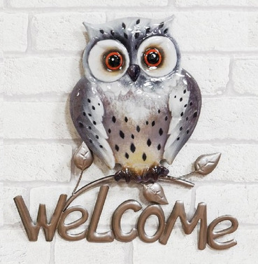Grey Welcome Owl Metal Wall Art