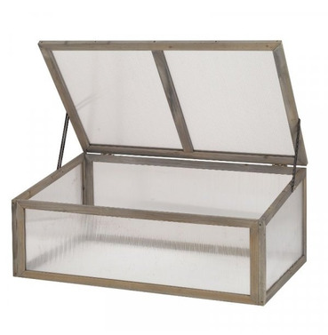Grow-Zone Grey Wooden Growhouse Cold Frame - Small