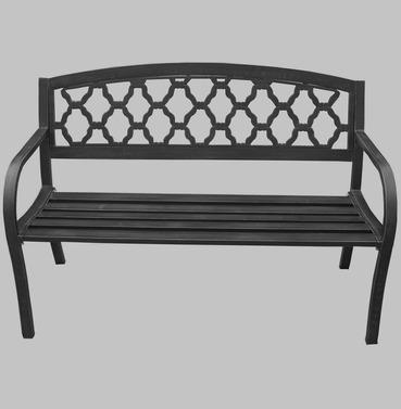 Garden Metal Bench Hexagon Shaped Design Back