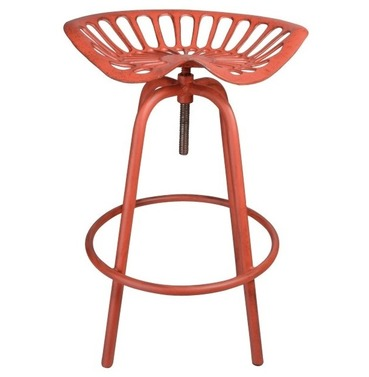 Tractor Seat - Aged Red - Bar Stool