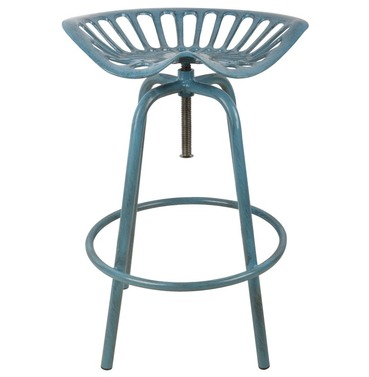 Tractor Seat - Aged Blue - Bar Stool
