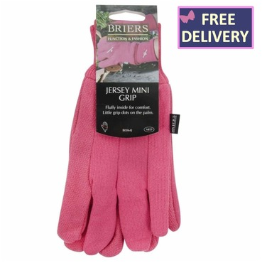 Pink Jersey Gloves with Mini Grip - Medium