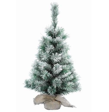 Mini Christmas Tree Snowy Vancouver 60cm Jute Bag Base