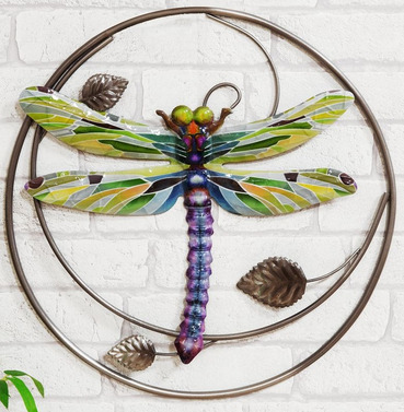 Metal Kaleidoscope Dragonfly in Hoop Wall Art