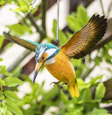 Hanging 3d Metal Kingfisher in Flight - La Hacienda