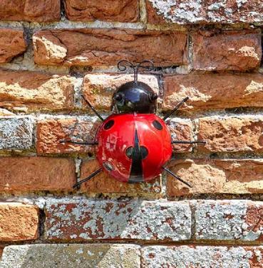 Metal Ladybird Wall Art - Hand Painted - Large