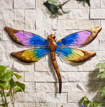 Medium Dragonfly Wall Art Glass and Metal