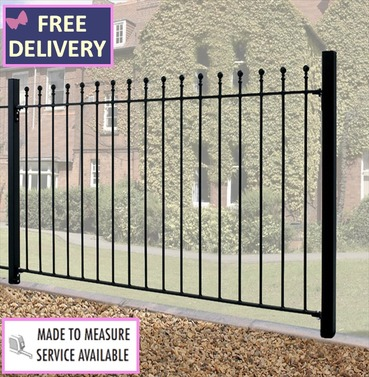 Manor Metal Ball Top Fence Panel - 6ft Wide by 4ft High