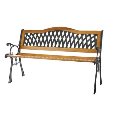 Garden Furniture Lattice S Bend Bench in Wood and Metal